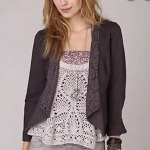 Free People Brown Lace Asymmetrical Jacket